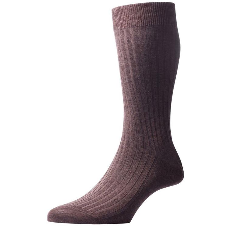 Danvers - 5x3 Rib Cotton Lisle Sock in Dark Brown Mix (3 Pair) by Pantherella