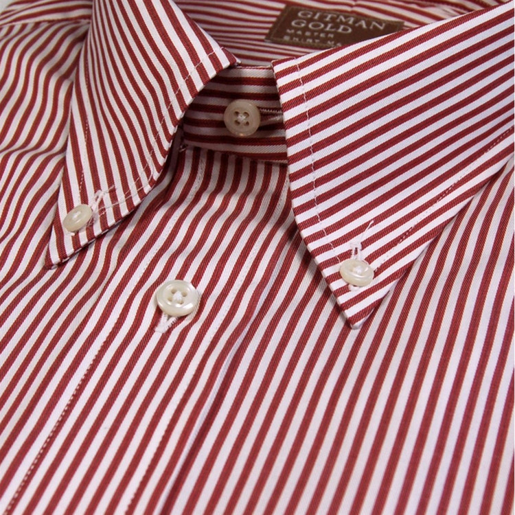 f25c75f2793  Gitman Gold  Red and White Stripe Twill Dress Shirt (Size 16 - 34) by  Gitman Brothers