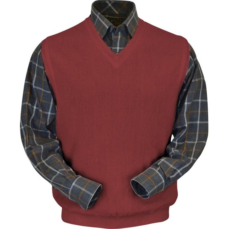 Baby Alpaca Link Stitch Sweater Vest in Rust by Peru Unlimited