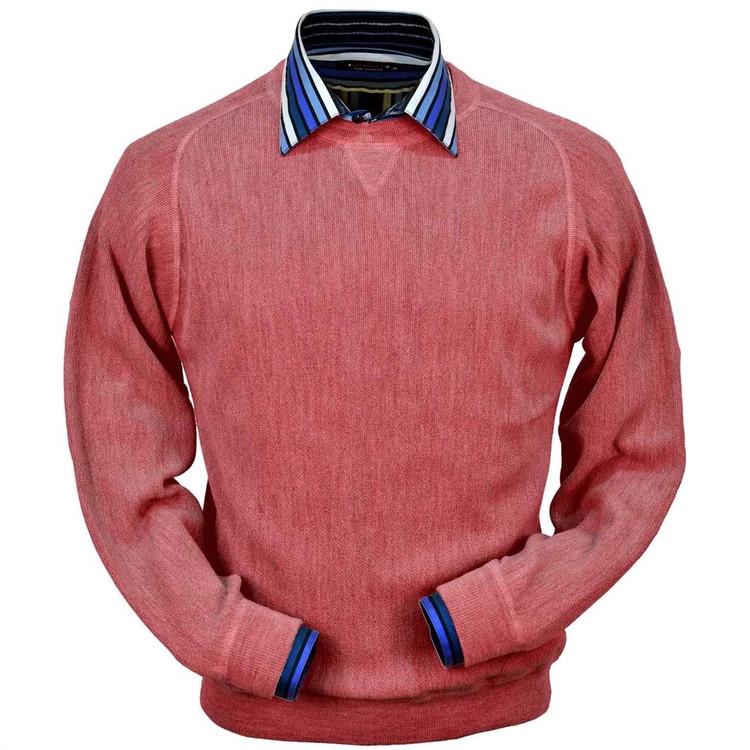 Baby Alpaca Link Stitch Sweatshirt Style Sweater in Red Coral Heather by Peru Unlimited