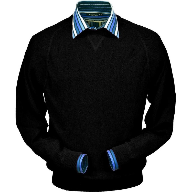 Baby Alpaca Link Stitch Sweatshirt Style Sweater in Black by Peru Unlimited