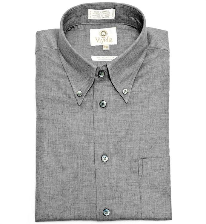Flannel Grey Button-Down Shirt by Viyella