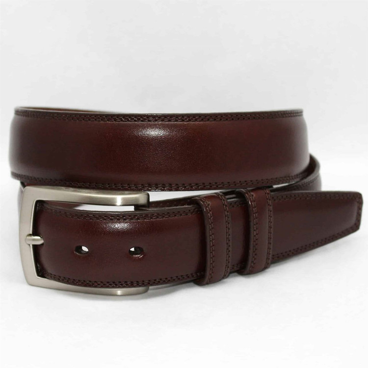 Italian Burnished Kipskin Belt in Brown (EXTENDED SIZES) by Torino Leather Co.