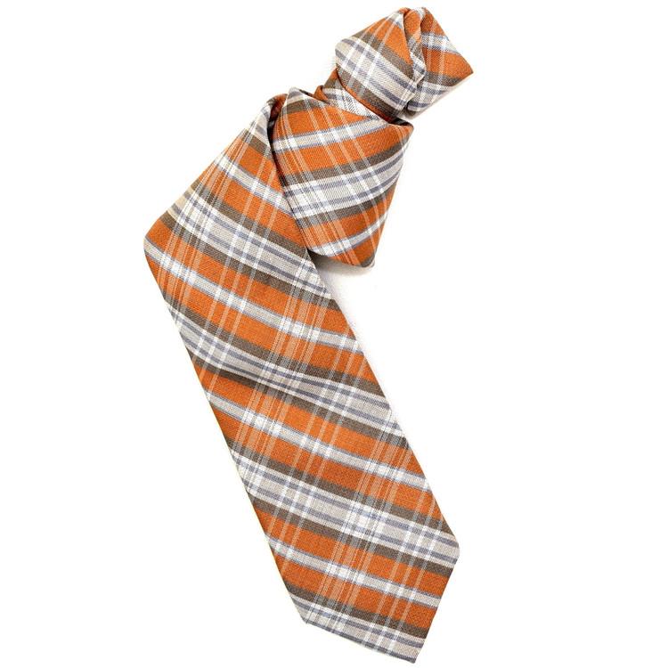 Best of Class Orange, Tan, and Cream 'Seasonal' Woven Linen and Silk Tie by Robert Talbott