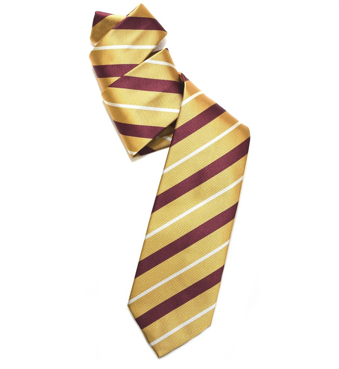 Gold and Burgundy Silk Faille Repp Tie by Robert Jensen