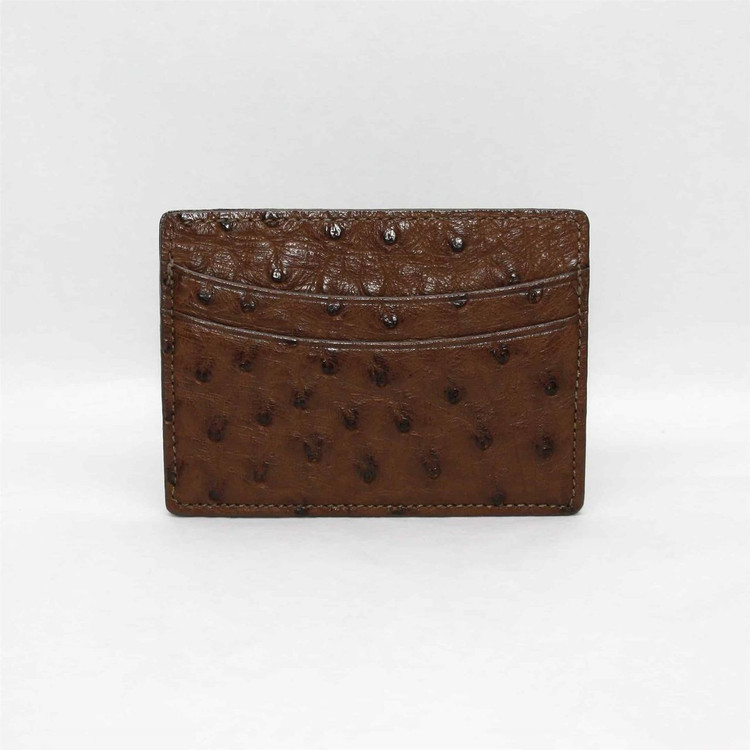 Genuine Ostrich Card Case in Brown by Torino Leather Co.