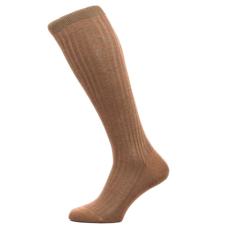 Laburnum - 5x3 Rib Merino Wool Over-the-Calf Sock in Dark Camel (3 Pair) by Pantherella
