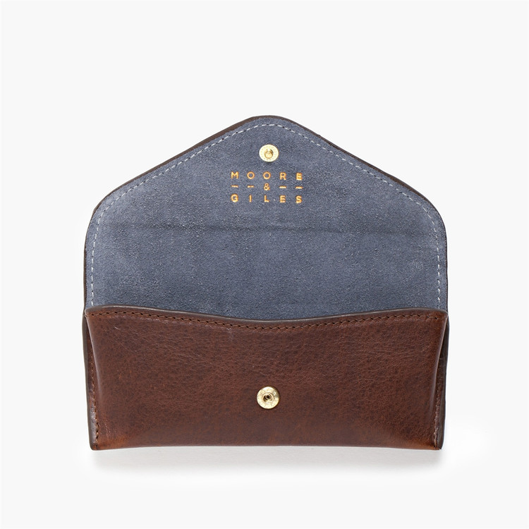 Eyeglass Case in Titan Milled Brown with Navy Suede Interior by Moore & Giles