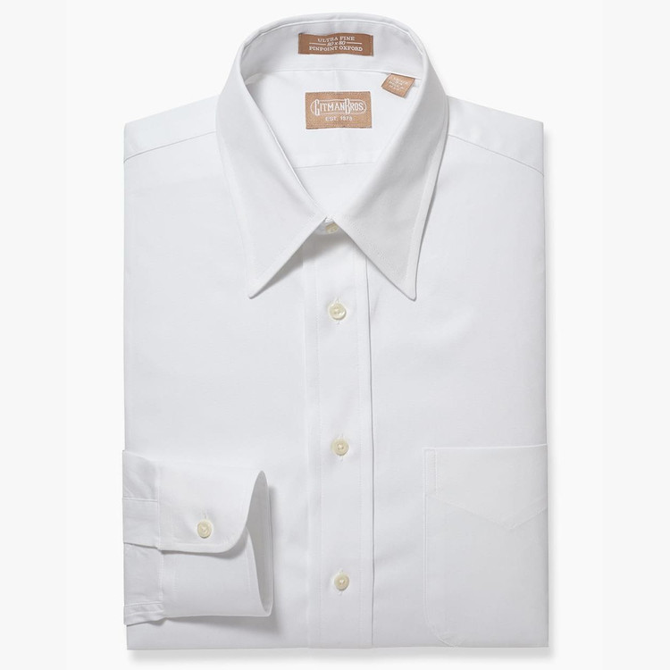 Pinpoint Dress Shirt with Point Collar in White by Gitman Brothers
