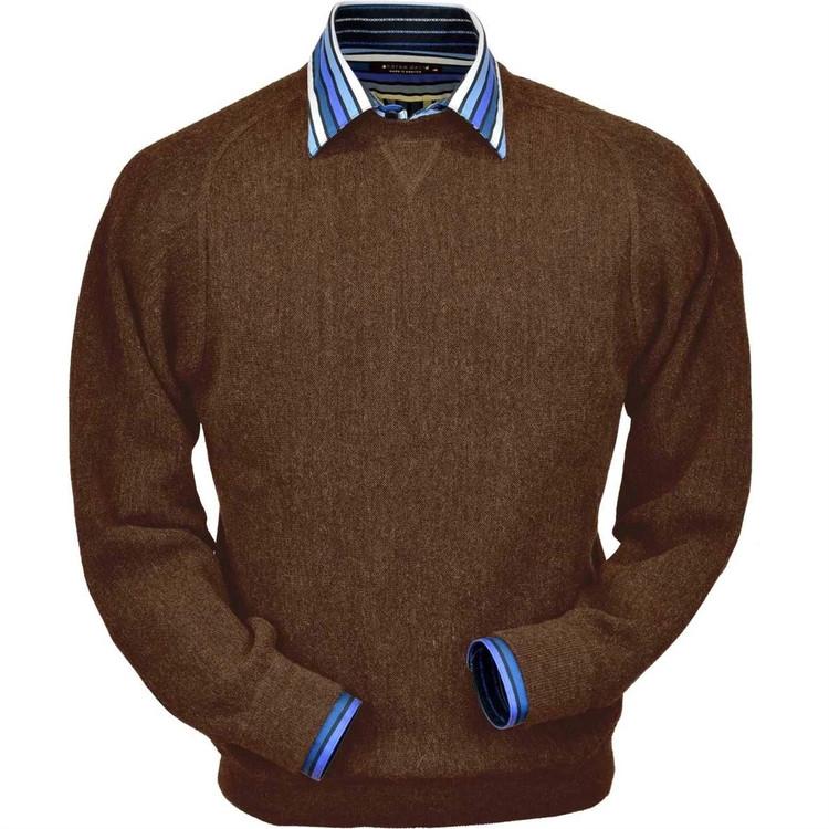 Baby Alpaca Link Stitch Sweatshirt Style Sweater in Khaki Heather by Peru Unlimited