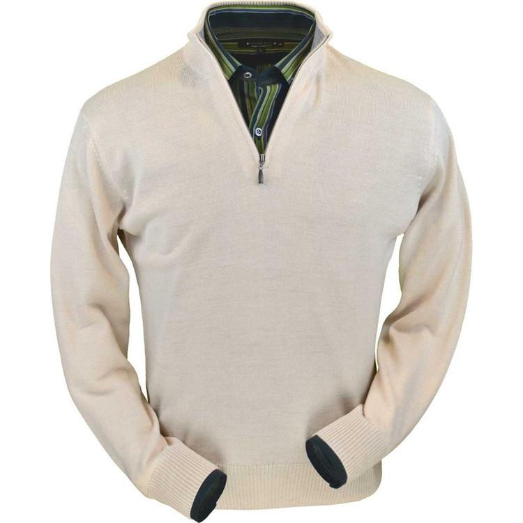 Royal Alpaca Half-Zip Sweater in Natural by Peru Unlimited