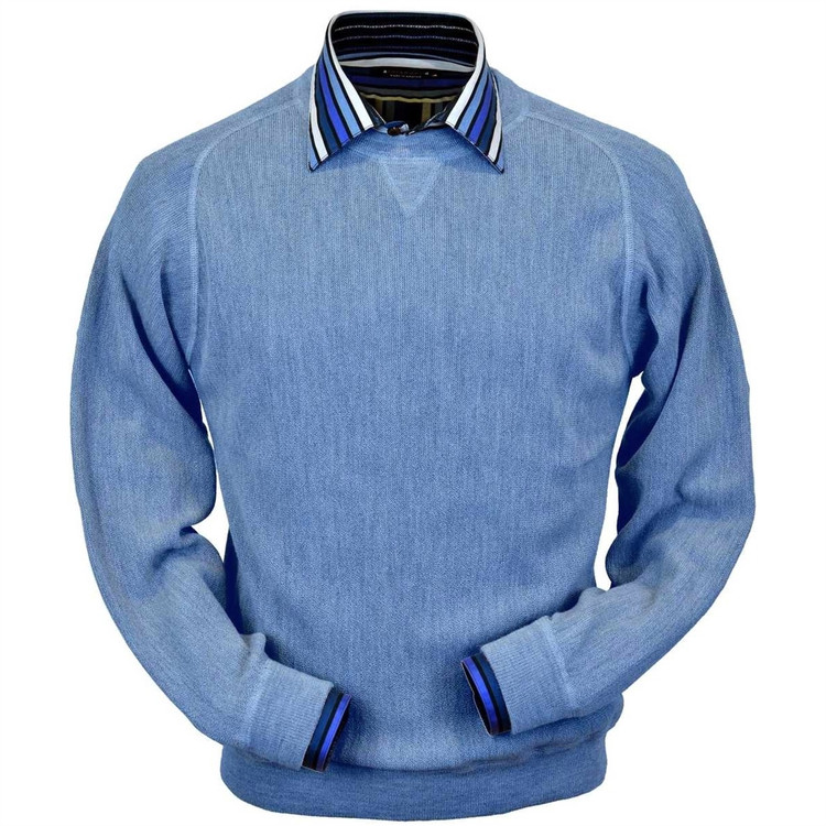 Baby Alpaca Link Stitch Sweatshirt Style Sweater in Coastal Heather by Peru Unlimited