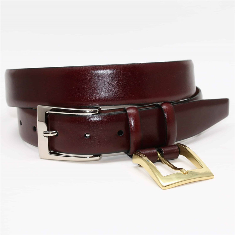 Italian Calfskin Double Buckle Option Belt in Burgundy by Torino Leather Co.