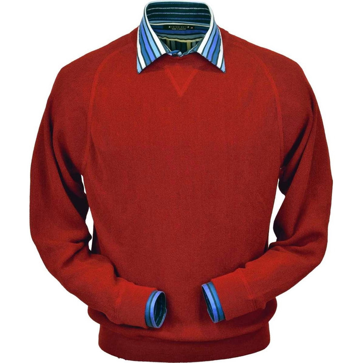 Baby Alpaca Link Stitch Sweatshirt Style Sweater in Rouge Red by Peru Unlimited