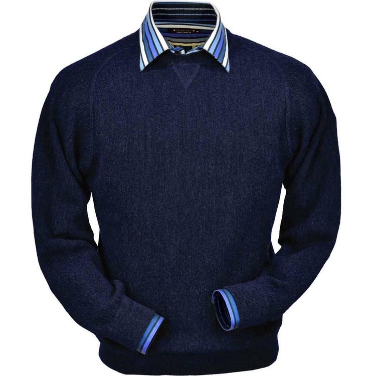 Baby Alpaca Link Stitch Sweatshirt Style Sweater in Navy Heather by Peru Unlimited