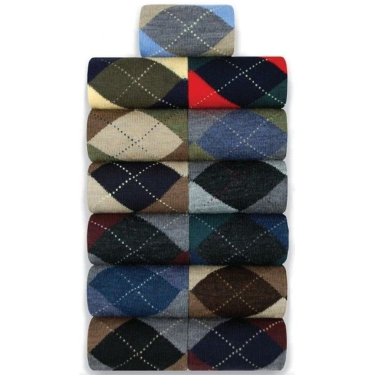 Merino Wool Argyle Socks in Mid-Calf Closeout (Single Pair) by Byford