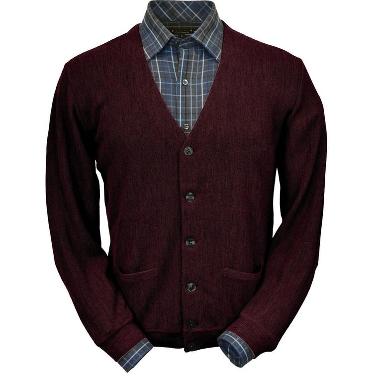 Baby Alpaca Link Stitch Cardigan Sweater in Wine Heather by Peru Unlimited
