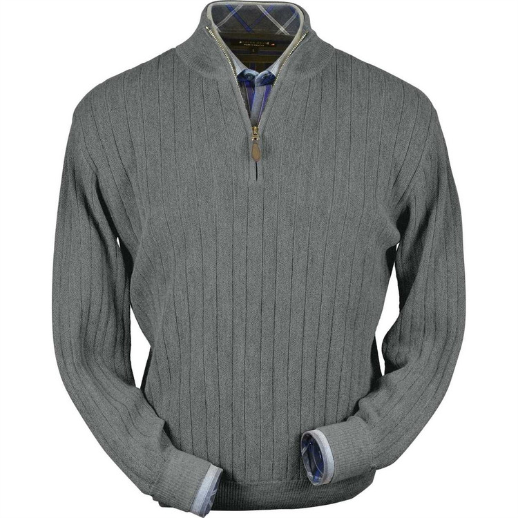 Baby Alpaca Link Stitch Half-Zip Mock Neck Sweater in Sky Grey Heather by Peru Unlimited