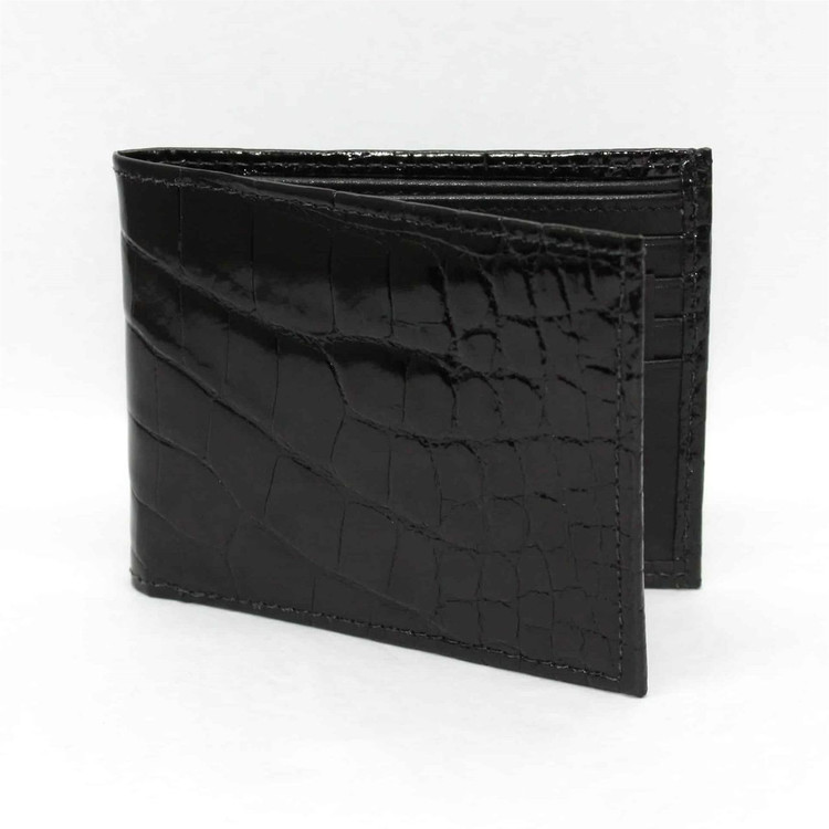 Genuine Alligator Billfold Wallet in Black by Torino Leather Co.