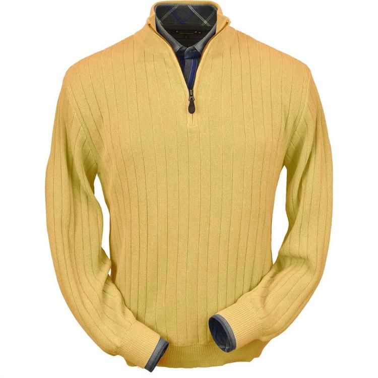 Baby Alpaca Link Stitch Half-Zip Mock Neck Sweater in Gold by Peru Unlimited