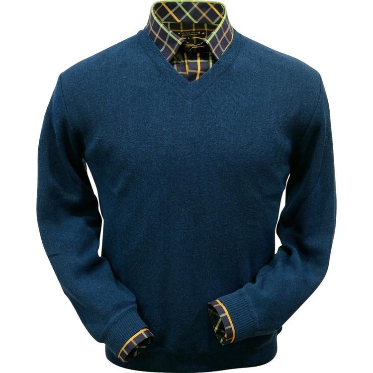 Baby Alpaca Link Stitch V-Neck Sweater in Midnight Blue by Peru Unlimited