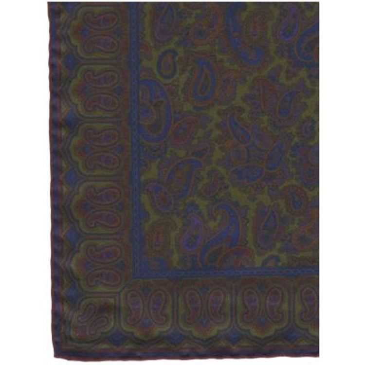 Paisley Silk Pocket Square in Olive by Robert Talbott