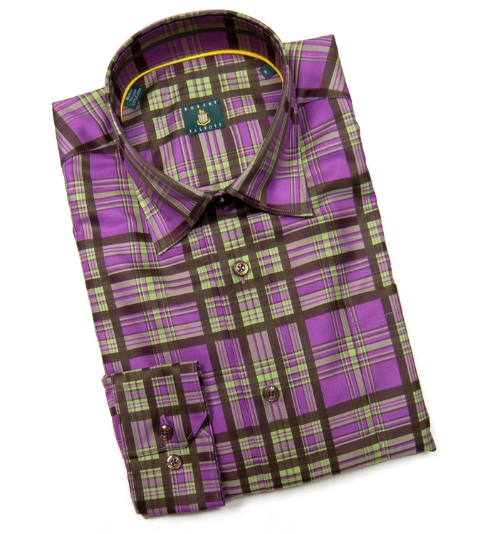 Concord, Lime, and Brown 'Anderson' Check Sport Shirt by Robert Talbott