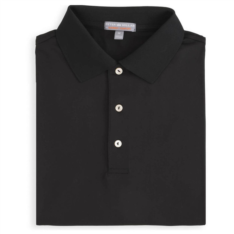 Solid E4 Summer Comfort Stretch Jersey Polo with Knit Collar in Black by Peter Millar