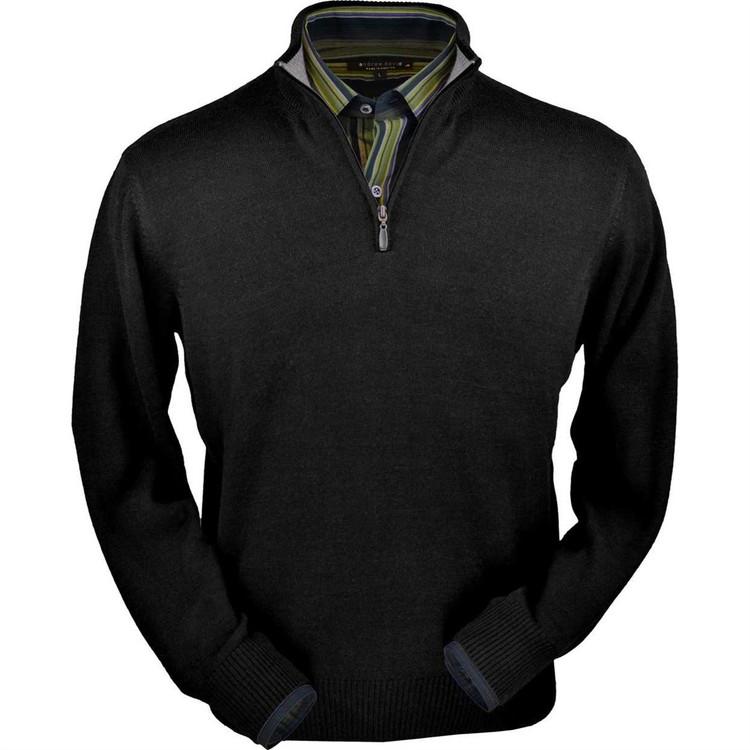 Royal Alpaca Half-Zip Sweater in Black by Peru Unlimited
