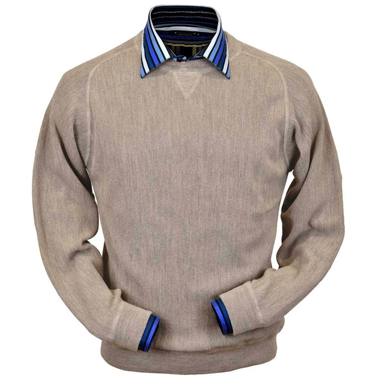 Baby Alpaca Link Stitch Sweatshirt Style Sweater in Sand Heather by Peru Unlimited