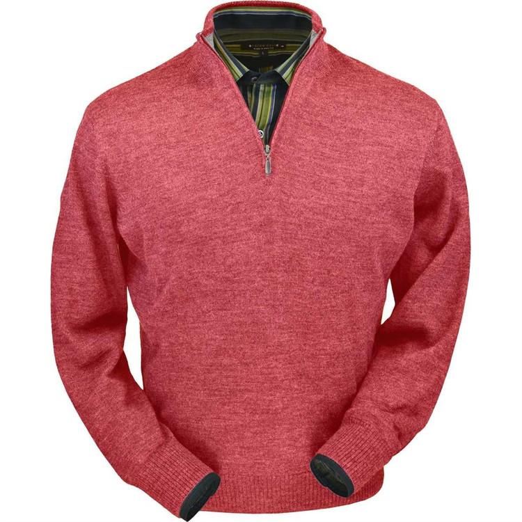 Royal Alpaca Half-Zip Sweater in Red Coral Heather by Peru Unlimited