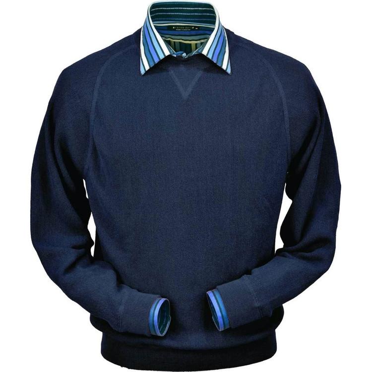 Baby Alpaca Link Stitch Sweatshirt Style Sweater in Midnight Blue by Peru Unlimited