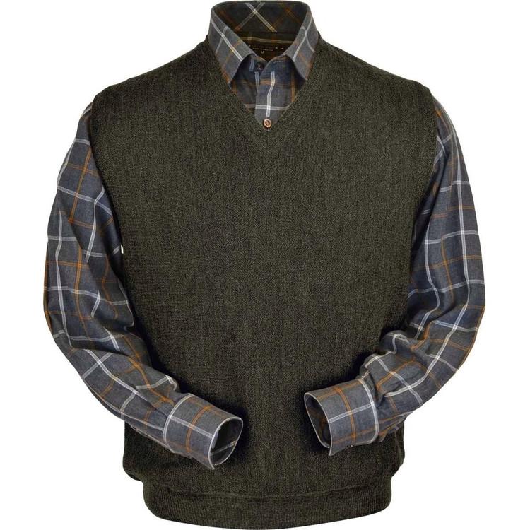 Baby Alpaca Link Stitch Sweater Vest in Leaf Moss Heather by Peru Unlimited