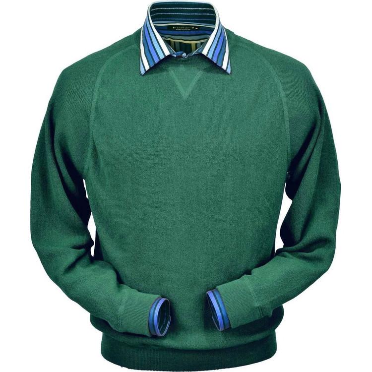 Baby Alpaca Link Stitch Sweatshirt Style Sweater in Green Leaf by Peru Unlimited