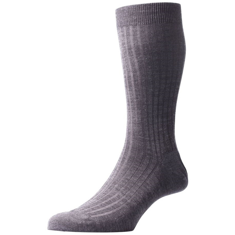 Laburnum - 5x3 Rib Merino Wool Sock in Mid Grey Mix (3 Pair) by Pantherella