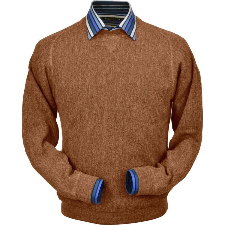 Baby Alpaca Link Stitch Sweatshirt Style Sweater in Soft Brick Heather by Peru Unlimited
