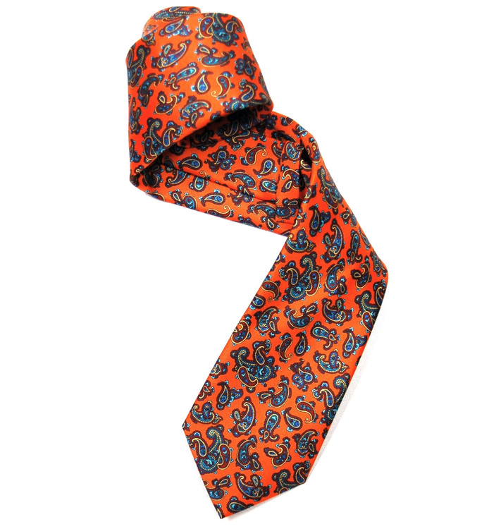 Orange, Maroon, and Aqua Paisley Silk Tie by Marchesi di Como