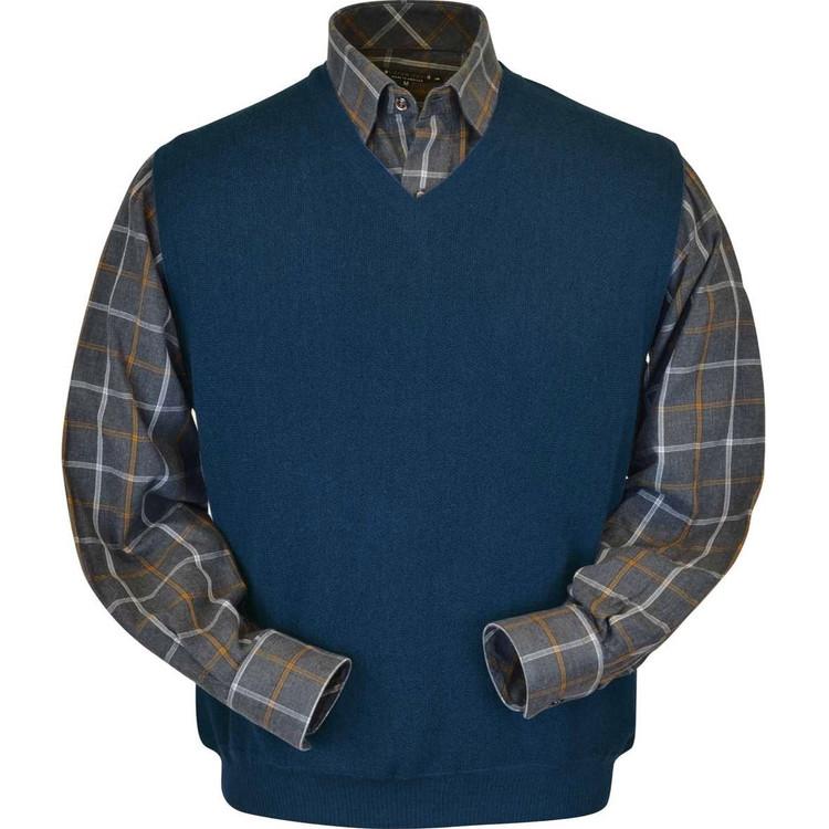 Baby Alpaca Link Stitch Sweater Vest in Midnight Blue by Peru Unlimited
