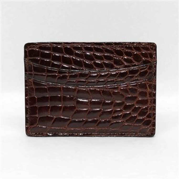 Genuine Alligator Card Case in Brown by Torino Leather Co.