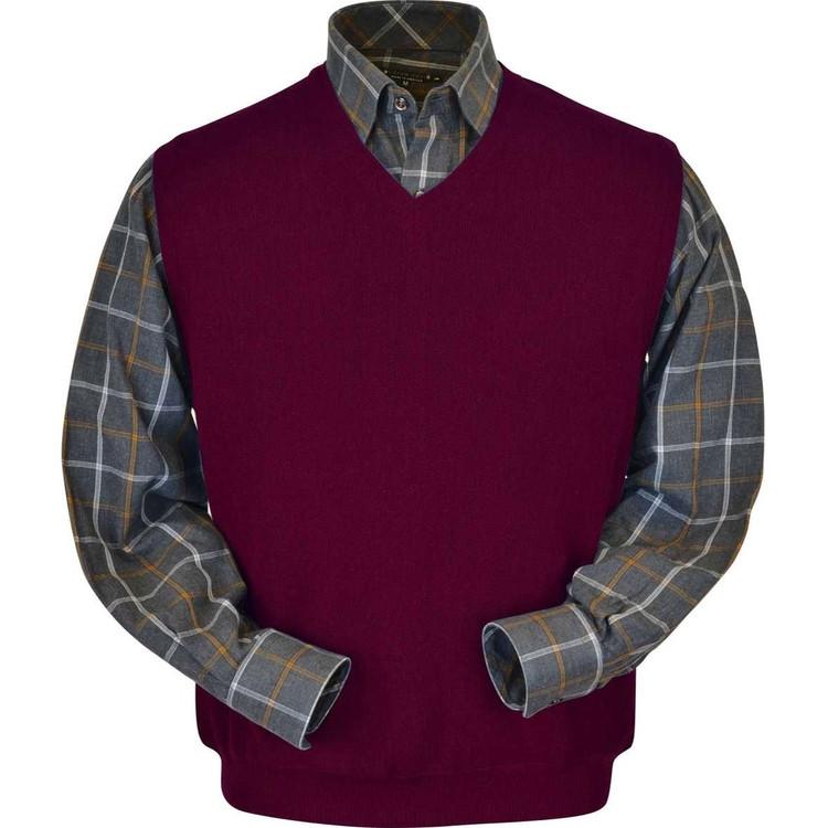 Baby Alpaca Link Stitch Sweater Vest in Raspberry by Peru Unlimited
