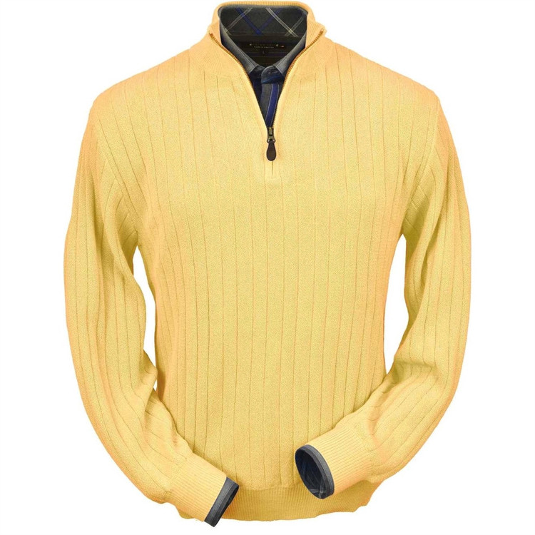 Baby Alpaca Link Stitch Half-Zip Mock Neck Sweater in Yellow by Peru Unlimited
