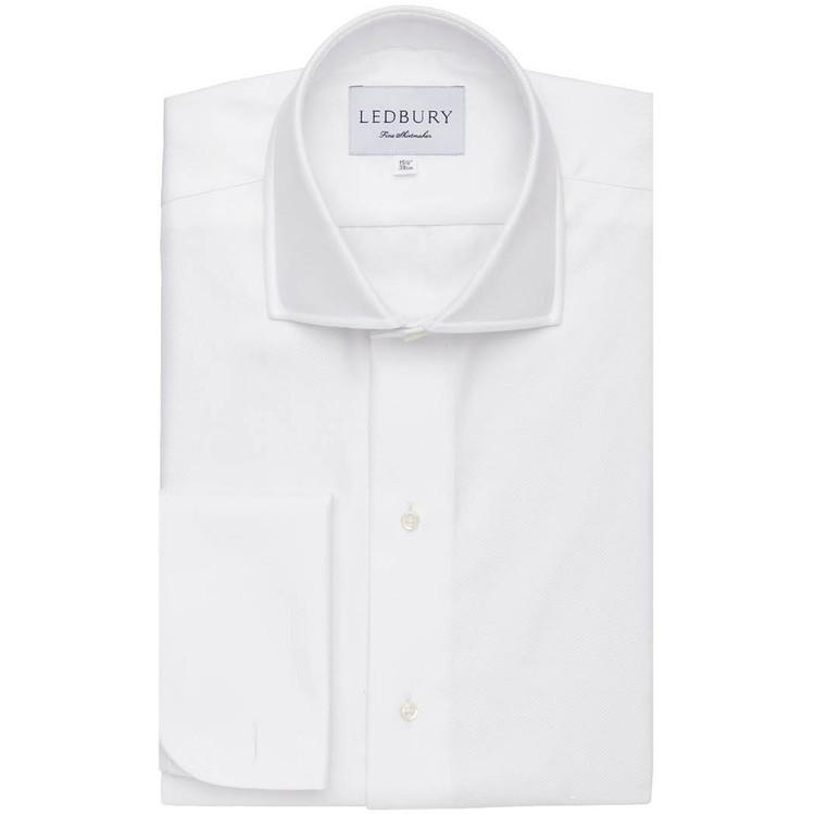 The White Royal Twill Tuxedo Dress Shirt by Ledbury