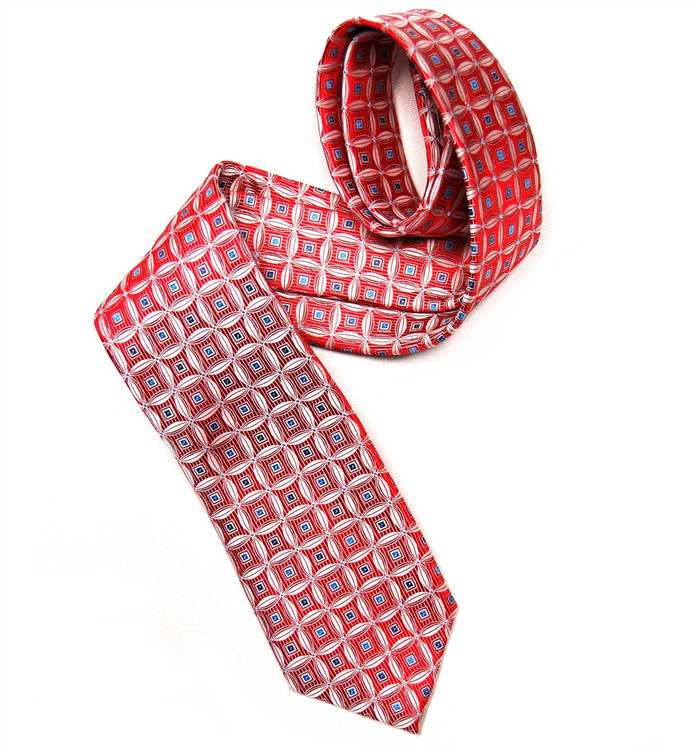 Red and White Geometric Woven Silk Tie by Robert Jensen