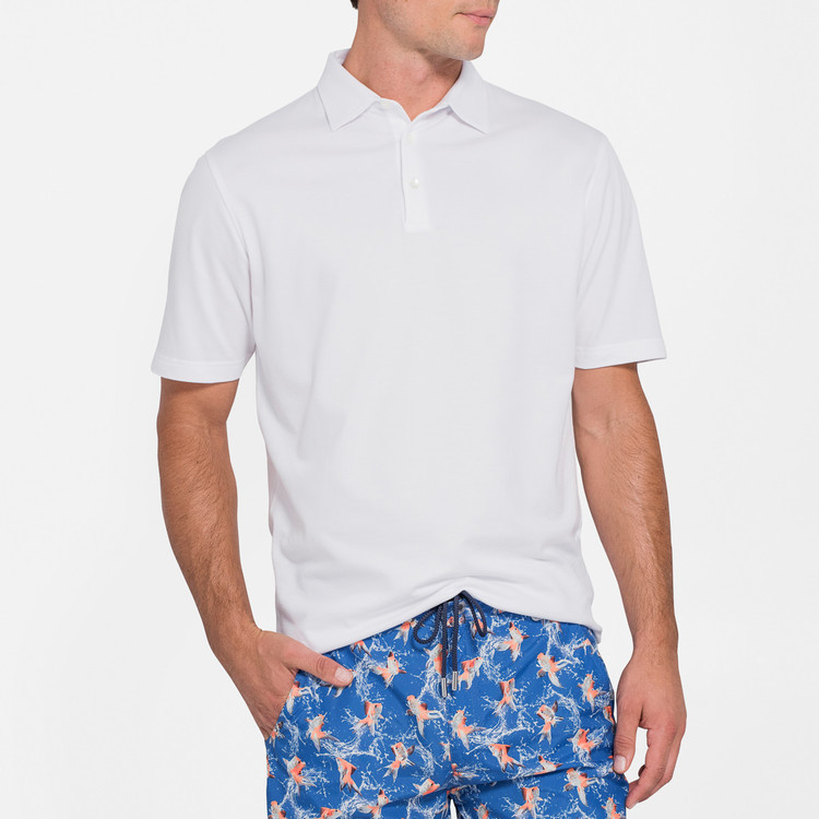 Perfect Pique Polo in White by Peter Millar