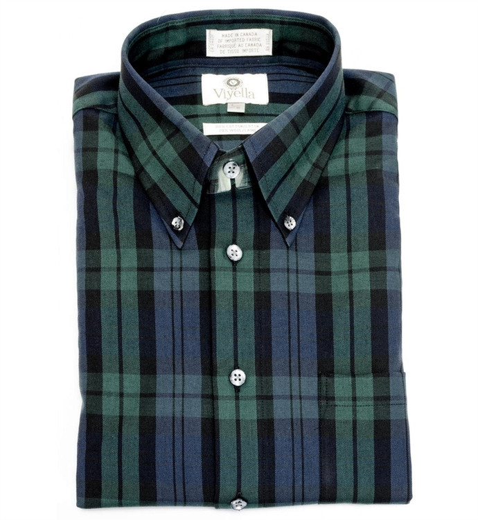 Black Watch Tartan Button-Down Shirt by Viyella