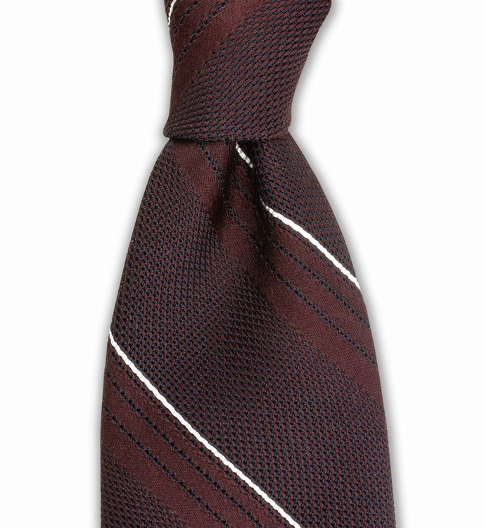 Woven Grenadine Stripe Tie in Wine by Gitman Brothers