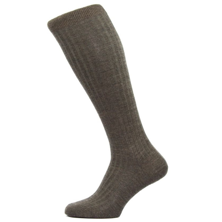 Laburnum - 5x3 Rib Merino Wool Over-the-Calf Sock in Dark Brown Mix (3 Pair) by Pantherella