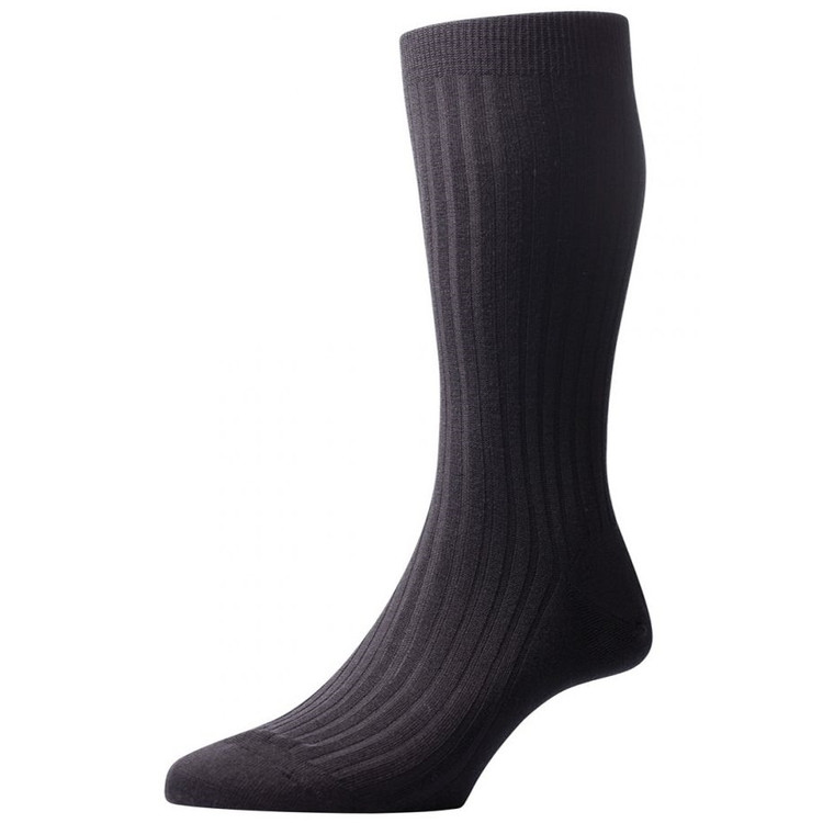 Laburnum - 5x3 Rib Merino Wool Sock in Black (3 Pair) by Pantherella