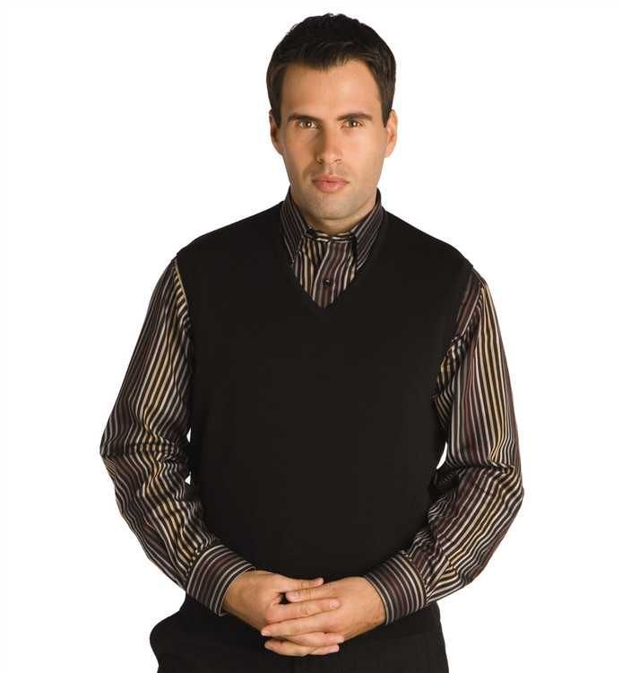 Classic Merino Wool Pullover Vest in Black by St. Croix
