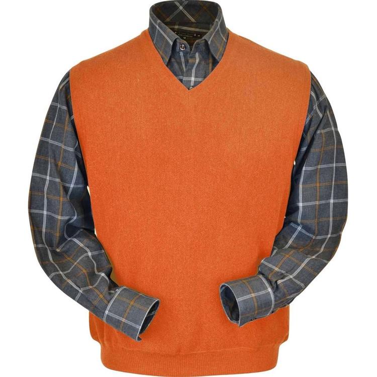 Baby Alpaca Link Stitch Sweater Vest in Orange by Peru Unlimited